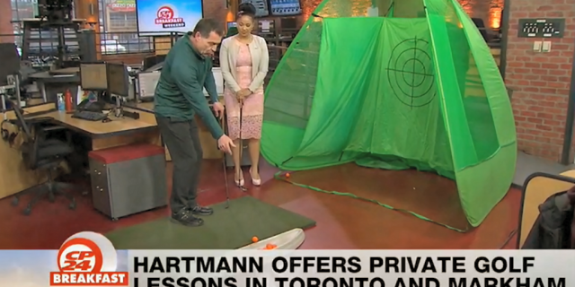 Dave Hartmann giving a Golf Lesson to Kayla on CP24 Breakfast Masters Sunday 2019