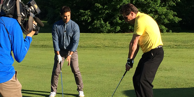 Dave Hartmann gives an on course playing lesson to Jamie on CP24 Breakfast