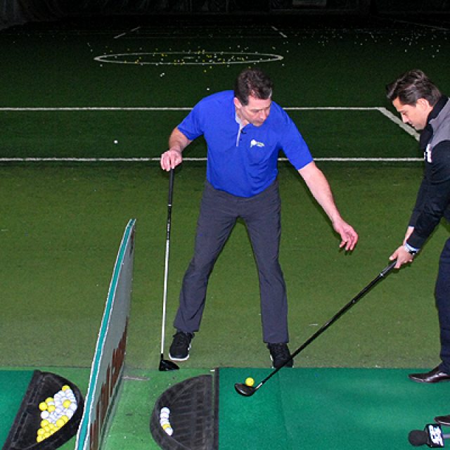 Dave Hartmann giving a Golf Lesson to Jamie at Metro Golf Dome on CP24 Breakfast