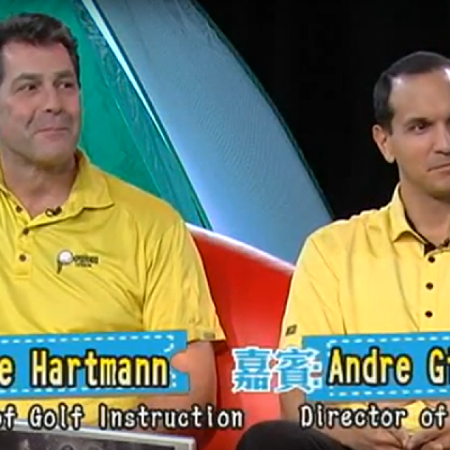 Dave Hartmann and Andre Gillezeau being interviewed on Wow TV by Michelle Chu